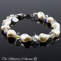 Armband med flata pärlor och kristaller
