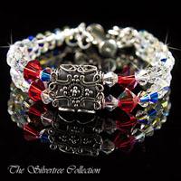 Armband med Bali silver och Swarovski kristaller