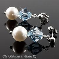 Vackra örhängen med blå Swarovski kristaller och pärlor