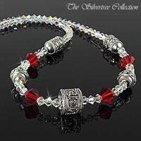 Halsband med Bali silver och Swarovski kristaller