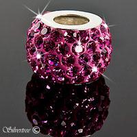 Rosa charm med Swarovski kristaller