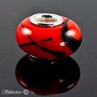 Röd & Svart glas charm
