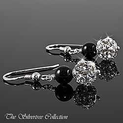 Örhängen med svarta pärlor och Swarovski kristall