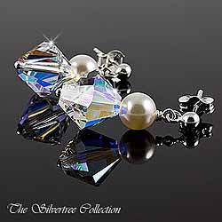 Örhängen med kristall och pärlor