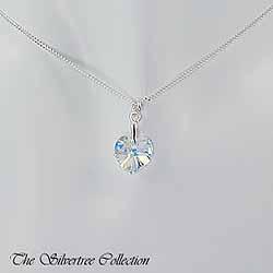 Kristallhjärta på Sterling silver kedja