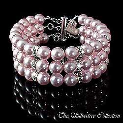 3-radigt rosa pärlarmband