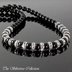 Pärlhalsband med silver rondeller och kristaller